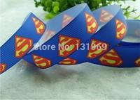 "30 yards/lot superman ribbon 7/8"" (22mm) printed grosgrain cartoon ribbon DIY for hair bow accessories ZR12 Xmas gift"