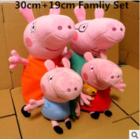 4Pcs/Lot Kids Girls 19CM Plush George Peppa Pig Family Toys 30CM Daddy Mummy Pig Stuffed Pelucia Pig Peppa Familia Set