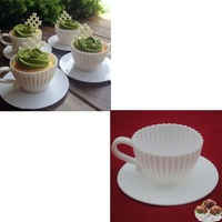 Brand New Silicone Cupcake Cups Muffin Baking Cake Tea Saucers Teacup Mold (8pcs)