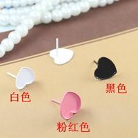 12mm New Multi-color Enamel Heart Edge Bezel Blank Bases Stud Earrings Settings DIY Resin Dome Jewelry Findings Wholesale