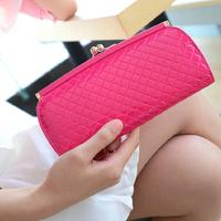 free shipping lady rim lock wallets fashion plaid women clutch long lady purse 431