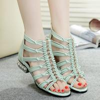 2014 Summer beautiful sandals Women rhinestone low-heeled cutout knitted open toe sandals bohemia back zipper female shoes Blue