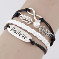 DIY charm bracelets retro bohemian leather bracelet wholesale DIY hand-woven bracelets letters wings woman