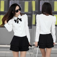 2014 New Arrival Stylish Women Brand Solid Color High Quality Business Shirt With Bow OL Shirt Size:S-L