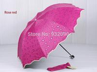 Sunny umbrella,Cardioid pattern three folding.sunscreen.Manual Umbrella7 colors random delivery
