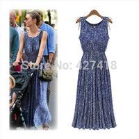 New 2014Women Spring Summer Slim Sleeveless Bohemian Retro Floral Maxi Long Print Dress free shipping
