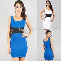 Free shipping Factory direct 2014 women's Sexy Slim stitching nightclub vest dress club clothing vestidos casual dress plus size