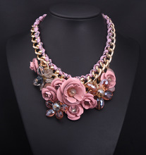 CHOKER NECKLACES the New Fashion Jewelry Hot Sale 2014 Multicolour Flower Cotton Rope Knitted Chunky Statement