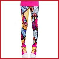 Funny cooldeal Sexy Fashion Women Graffiti Doodle Slim Leggings Pants SG1993 wholesale Fashion style