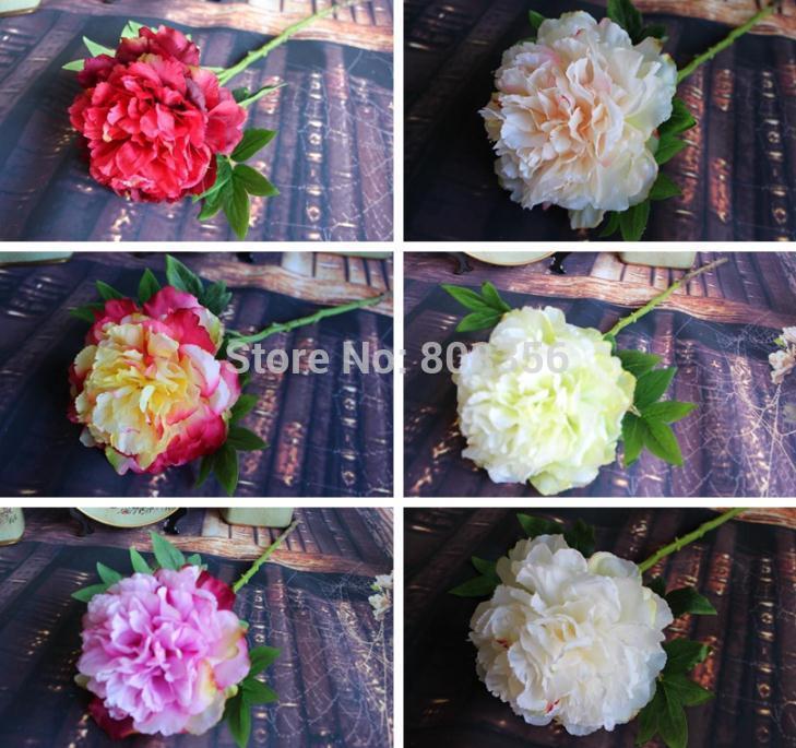 "8Pcs 63cm/24.8"" Length Purple/Champagne/Red/Green/Hot Pink/Cream Artificial Korean Melaleuca Peonies Single Peony Wedding Flower(China (Mainland))"