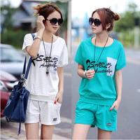 2014 Fashion New Summer Casual Sports Set Women Loose Short-sleeve T-shirt +Casual Shorts Sports Twinset M-XXL Free SHipping
