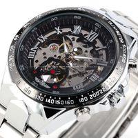 Brand WINNER Men Black Skeleton Dial Automatic Mechanical Silver Stainless Steel Watch