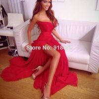 2014 New Hot Sale Sexy Red Prom Dresses With High Slit Chiffon Sweetheart Ruched Court Train Formal Evening Gowns Long