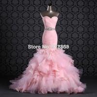 Sexy Mermaid Pink Wedding Dresses 2014 Sweetheart Organza Bridal Gown Pleated Bodice Beaded Sash Ruffled Wedding Dress