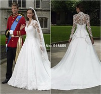 Wholesale A Line Long Sleeve Wedding Dress Lace vestido de noiva curto With Court Train Custom Made Kate Wedding Gown