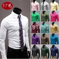 Free Shipping 2014 New Fashion Clothing Business Dress Shirt High Quality Pure Color long sleeve Social Mens Casual-shirt