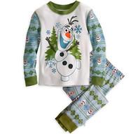 2014 Seconds Kill Conjuntos Peppa Frozen Olaf Pajamas Kids Sets Long-sleeves Shirt + Pants Snowman Sleepwear Boys free Shipping