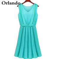 Hot new women's European and American style wholesale sleeveless V-neck chiffon dress for women free shipping gift