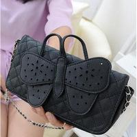 2014 NEW ARRIVAL Free Shipping Hot Women Handbag Messenger Bag Butterfly Bag Black PU Shoulder Bag Clutch Bag Casual Bag