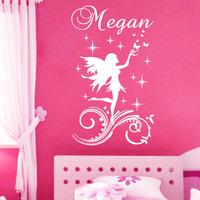 Custom Name Flying Fairy Star Butterflies Wall Sticker Kids Girl Room Decor Headboard Decoration