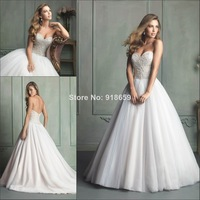 2014 Full Pearls Wedding Dress With Sweetheart Tulle Court Train Custom Made Wedding Bridal Gown