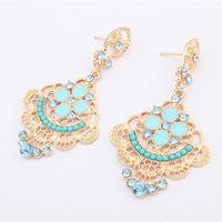 Fashion elegant hollow flowers rhinestones drop earrings R4359