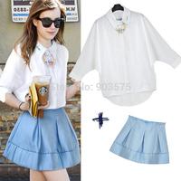 2Pcs Women's Set  mid Sleeve Tops Mini Short Skirt Fashion Sets Female dress
