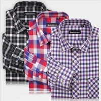 New Arrival~ Free Shipping Newly Style Men's Long Sleeve Plaid Oxford Business Shirt 20Colors 1pc/lot