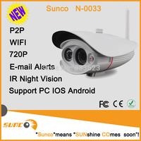 Sunco N0033 Wireless 720P P2P IP  Outdoor Gun Wifi  ip Camera With 1 high-power night leds IR Night Vision  CMOS Plug&play