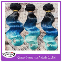 free shipping cheap 1 pcs lot  black blue green  body wave virgin peruvian ombre hair extensions(China (Mainland))