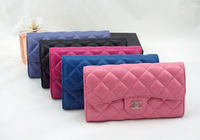 Fashion ladies sheepskin genuine leather wallet women purse lozenge long notecase  billfold