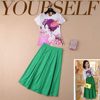 Free shipping  New Slim thin beauty bust Printed Top + skirt suit  short skirt and blouse for women