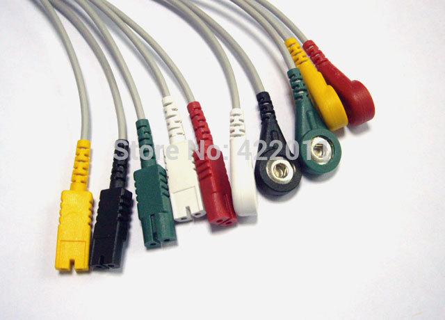 LL ECG leadwires, 5-lead, IEC,snap, LL/2pin plug LL-5(China (Mainland))