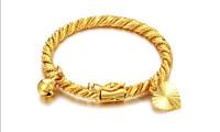 2014 New 18K Gold Plated Bell Heart Design Bracelet Children Boys Girls Baby Kids Jewelry Anti-Allery Bracelet Rope Chain Gift