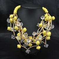 Wholesale Fashion New 2014 Jewelry Vintage Perfume Women Party Luxury Choker Yellow African Beads Statement Choker Necklace