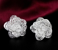 factory promotions wholesale Price Beautiful Flower 925 sterling silver WOMEN STUD earring high quality fashion classic jewelry