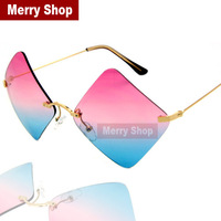 2014 New Arrival Fashion Women Brand Designer Gradient Sunglasses Rimless Sunglasses Square Sunglasses High quality
