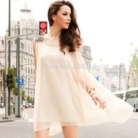 Irregular chiffon epaulettes Women Dress Free Ship Women Clothing