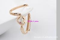 2014 HOT SALE sweet lovely crystal bracelets heart style zircon inlaying 18k rose gold quality bangle fashion cute women jewelry