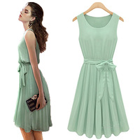 Slim sleeveless vest solid color pleated chiffon women dress Free Ship Women Clothing