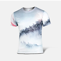 2014 The Godzilla Monster T-shirts Breathable Mens T-shirt Cosplay Short Sleeves Tops Fashion Round-Neck Sweater