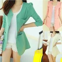 Blazer Women Jacket New 2014 Women Coat Women Blazer Suit Foldable Brand Jackets Women Clothes Shawl Cardigan Coat