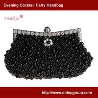 Full pearl beaded rhinestone flower elegant evening clutch for lady