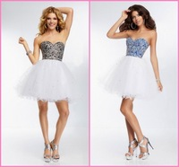 Custom Made Free Shipping Ball Gown Crystal Beaded Cocktail Dress 2014 Prom Dress Short