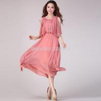 Hot Selling Bohemian fitting length sleeveless chiffon beach dress Free Ship Women Clothing