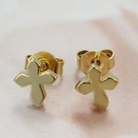 fashion cross stud earrings stainless steel women 18k gold jewelry