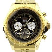 Orkina Black 6 Hand Transparent Dial Mechanical Gold Color Wrist Watch | ORK0038