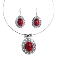 Fashion Red Oval Turquoise Style Tibetan Silver Hollow Earrings Necklace Removable Set  Jewelry Set