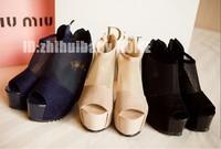 Free Shipping Fashion ultra high heels gauze wedges cutout rivet patchwork nubuck leather platform open toe sandals
