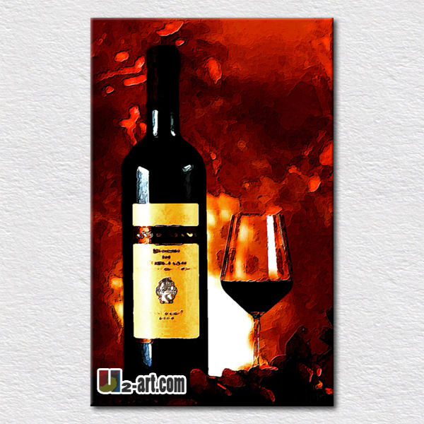 Still life oil painting on canvas red wine glass pictures oil painting for modern living room decoration canvas painting(China (Mainland))